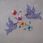 eflatun kuş desenli makina nakışı modeli