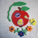 elma ve kelebek desenli örgü aplike modelleri