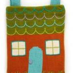 ev desenli örgü çocuk sırt çantası modeli