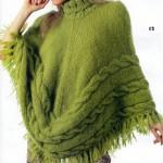 fıstık yeşili saç örgülü panço modeli