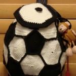 futbol topu desenli örgü çocuk sırt çantası modeli