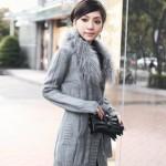 gri kürklü abiye uzun örgü ceket modeli