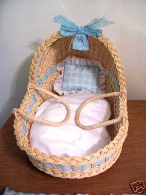 hasır şirin bebek sepeti modeli