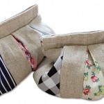 hasırlı ve desenli kumaş çanta modeli