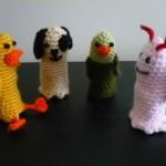 hayvanlar ailesi örgü parmak kukla modelleri