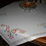 hesap işi çiçek işlemeli masa örtüsü