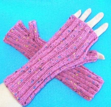 kırçıllı pembe parmaksız örgü uzun eldiven modeli