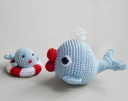 Amigurumi Balon Yapimi : kirmizi agizli amigurumi anne ve yavru balik modeli By nisa4