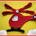 kırmızı helikopterli örgü aplike modeli
