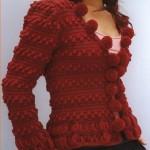 kırmızı ponponlu abiye örgü ceket modeli