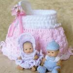 kız çocukları için örgü bebek beşiği oyuncak modeli