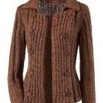 kahverengi çok şık abiye örgü ceket modeli