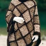 kahverengi örgü baayn panço modeli