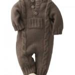 kahverengi örgü bebek tulumu modeli