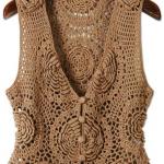 kahverengi düğmeli dantel yelek modeli