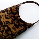 kahverengi geyik desenli kumaş çanta modeli