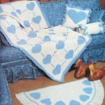 kalp motifli mavi beyaz battaniye ve paspas modeli