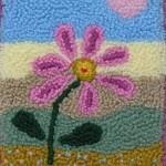 kalp ve çiçek desenli punch nakışı örneği