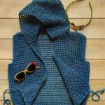 kapşonlu mavi dantel yelek modeli