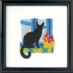 kara kedi desenli punch iğnesi pano modeli