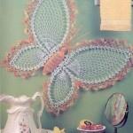 kelebekli dantel örgü duvar süsü modeli