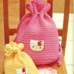 kity desenli örgü çocuk sırt çantası modeli