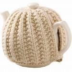 kremrengi çok şık örgü çaydanlık modeli