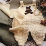 kremrengi ayıcıklı örgü bebek tulumu