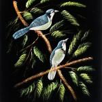 kuş desenli kumaş boyama örneği