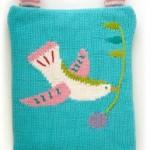 kuş desenli mavi örgü çocuk sırt çantası modeli