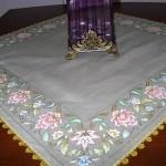 kumaş boyamalı masa örtüsü modeli