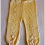 kurdaleli sarı örgü bebek pantolonu