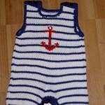 lacivert beyaz denizci örgü bebek tulumu