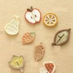 mantar elma desenli örgü buzdolabı süsleri
