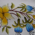 mavi çiçekli kumaş boyama örneği