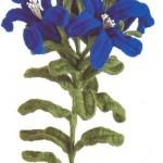 mavi çok güzel örgü vazo çiçeği modeli