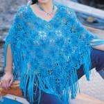 mavi örgü bayan panço modeli