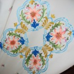 mavi desenli kumaş boyama örneği