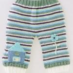 mavi ev işlemeli örgü bebek pantolon modeli