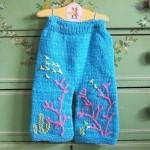mavi işlemeli örgü pantolon modeli