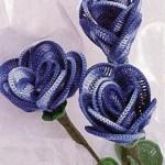 mavi katmerli örgü çiçek modelleri