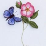mavi kelebek desenli çin iğnesi nakış modeli