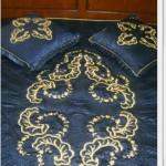 mavi maraş işi yatak örtüsü ve yastık modeli