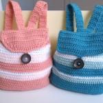 mavi pembe düğmeli örgü çocuk sırt çantası modeli