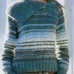 mavi renkli akıllı ip örgü kazak modeli