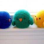 mavi sarı yeşil örgü yavru kuş modelleri
