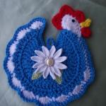 mavi tavuk desenli örgü nihale modeli