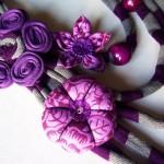 mor çiçekli kumaş kolye modeli