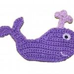 mor balina desenli örgü aplike modeli