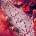 motifli uzun dantel tepsi örtüsü modeli